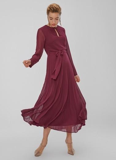 People By Fabrika Piliseli Yakası Düğme Detaylı Elbise Mürdüm